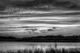 b&w photo of Lake Stella Sunset