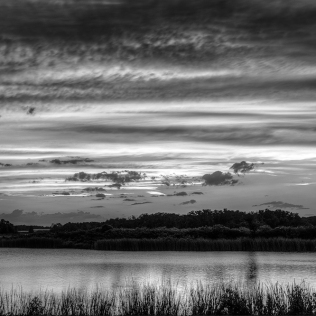 b&w photo of Lake Stella Sunset