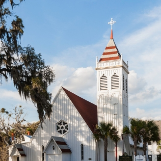 b&w photo of St Marks Church, Palatka FL
